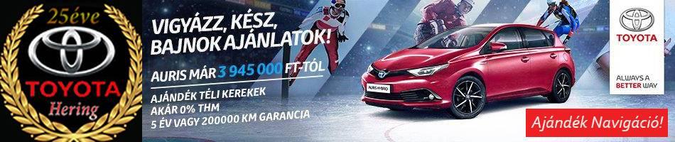 Toyota Auris szalonautó ajánlatok 1 000 000 Ft árelőnnyel, a Toyota Heringnél!